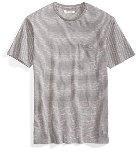 Goodthreads Men's Lightweight Slub Crewneck Pocket T-Shirt, Castle Rock/Grey/White Stripe, Large