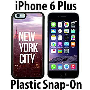 Sunset New York City Custom made Case/Cover/skin FOR iPhone 6 PLUS -Black- Plastic Snap On Case ( Ship From CA)