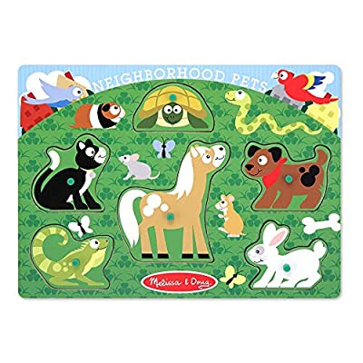 Melissa & Doug Neighborhood Pets Wooden Peg Puzzle (6 pcs): Melissa & Doug: Toys & Games