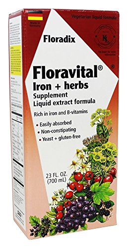Floravital Liquid Iron Supplement + Herbs 23 Ounce XL - Vegan, Non GMO & Gluten Free - Non Constipating, Yeast Free for Men & Women