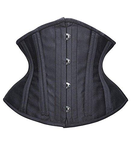 SHAPERX Camellias Women Short Torso Curvy Waist Heavy Duty Double Steel Boned Underbust Waist Trainer Corsets, SZ70930-Black-3XL