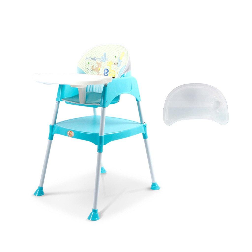 ポータブルベビーハイチェア、調節可能な赤ちゃん授乳マット、プラスチック折りたたみ子供椅子、子供の多機能ダイニングチェア、0~4歳に適した、L49 * W56 * H88cm ( Color : Blue )  Blue B07BS8GKCL