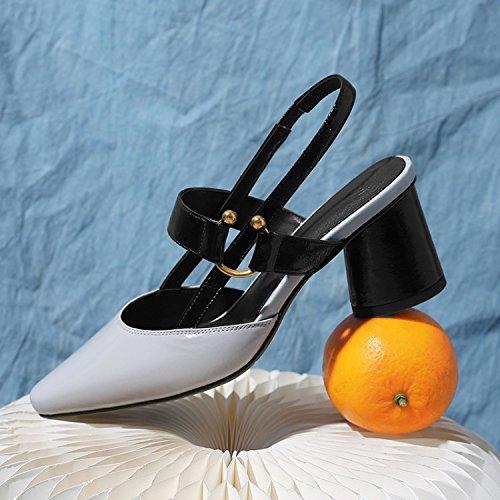 Jqdyl High Heels Weibliche Sandalen Sommer Schnalle Thick High Heel Jahreszeiten Damenschuhe  39|Light grey
