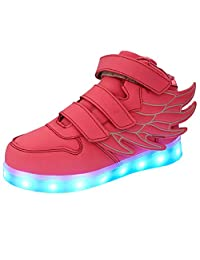 Tricandide Boy's & Girl's LED Light Up Flashing Velcro Sneakers with Wings