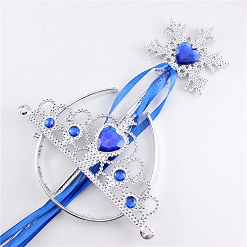 Rapunzel Costume Target (Lanlan 2 Pcs Princess Dress Up Accessories Role Play Prop Crown Tiara Headband and Snowflake Wand Set For Kids Birthday Christmas Toy Gift Blue)
