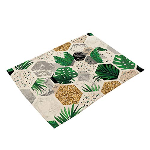 ACVIP Marble Pattern Casual Linen Place Mats (Green)