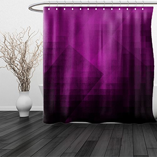 HAIXIA Shower Curtain Eggplant Abstract Purple Squares in Faded Color Scheme Modern Art Inspired Style Pixelart Purple