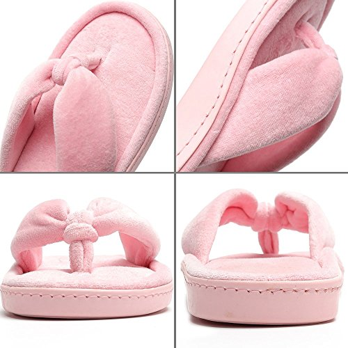 Slippers Velvet Cozy House Spa Lining Flip Flops Toe Pink Slippers MIYA Indoor Women's Open 0gHaqHxw