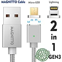 MAGNITTO 2 in 1 Magnetic Charging Cable Micro USB+Lightning Charging Cable for iPhone 5, 5c, 5s, SE, 6, 6 Plus, 6s, 6s Plus, 7, 7 Plus, Samsung S2 S3 S4 S6 S7 Edge, Note 2/3/4/5, Tab S2 S, LG G4 GEN3