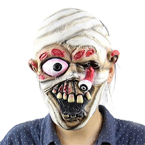 [MERRYCOCO Halloween Scary Mask Masquerade Zombie Cosplay Drop Eyeball] (Old Man Halloween Mask)