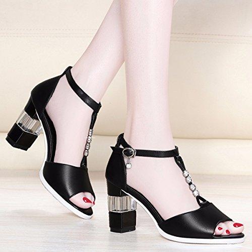 Zapatos Altos y Mujeres Sandalias Tacones Black JRFBA Usan Zapatos Sandalias Las con OEqqx0Fw