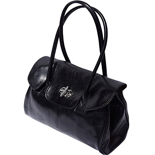 Lady Leather Handbag With Shoulderbag Handles 6544 Black And 2 n1n6vHW