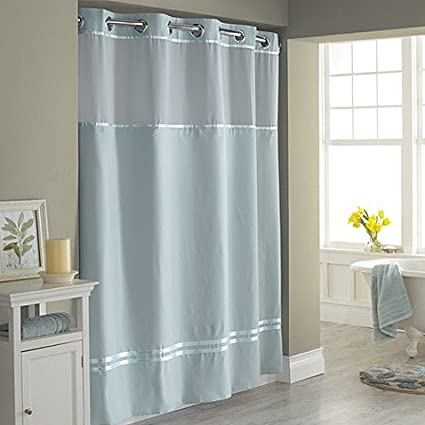 Delicieux Hookless Escape 71 Inch X 74 Inch Fabric Shower Curtain And Shower Curtain  Liner