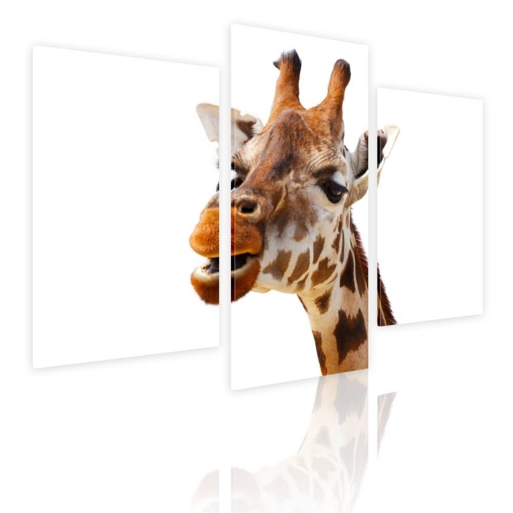 Alonline Art - Giraffe by Split 3 Panels | framed stretched canvas on a ready to hang frame - 100% cotton - gallery wrapped | 39''x26'' - 99x66cm | Wall art home decor for bedroom or for kitchen | HD