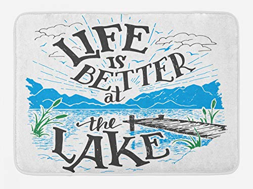 (Lunarable Cabin Bath Mat, Life is Better at The Lake Wooden Pier Plants Mountains Sketch Art, Plush Bathroom Decor Mat with Non Slip Backing, 29.5 W X 17.5 W Inches, Blue Jade Green Charcoal Grey )