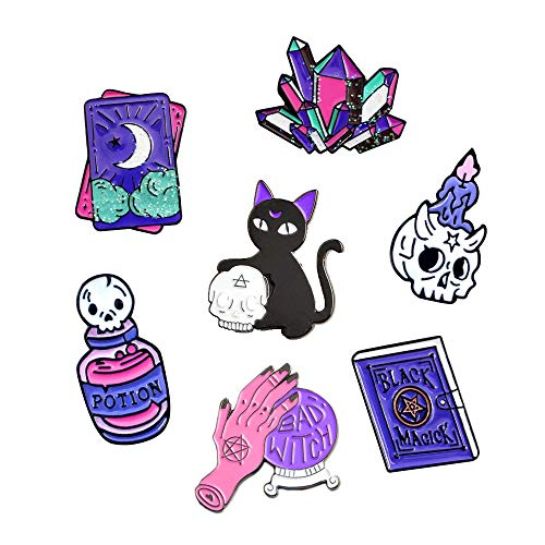 PunkStyle Novelty Plant Animal Enamel Brooches Badge Women Girls Children Clothing Bag (Black cat Taro Magic Hand Crystal Ball - 2pcs) for $<!--$12.28-->