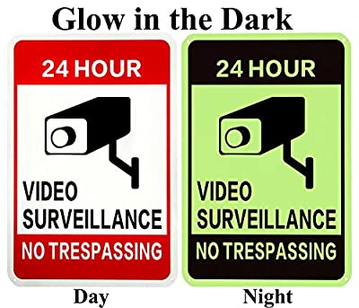 WISLIFE Video Surveillance Sign - 40 Mil Rust-free Aluminum Glow-in-the-Dark Signs, Home Business 24 Hours Security, No Trespassing Security Sign