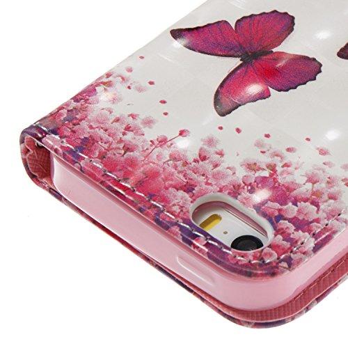 iPhone SE / 5 / 5S Hülle Rosen-Schmetterling PU Leder Wallet Handytasche Flip Etui Schutz Tasche mit Integrierten Card Kartensteckplätzen und Ständer Funktion Für Apple iPhone SE / 5 / 5S + Zwei Gesch