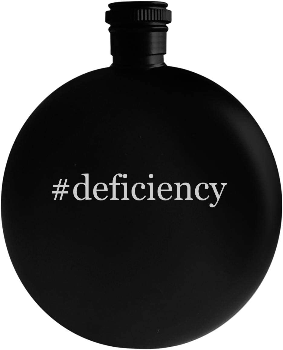 #deficiency - 5oz Hashtag Round Alcohol Drinking Flask, Black