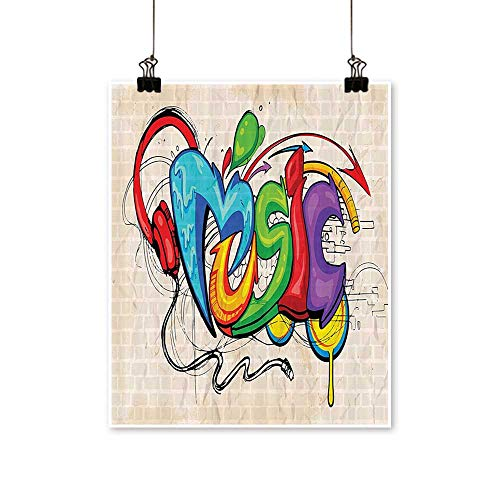 1 Piece Wall Art Painting Graffiti Style Music Lettering Headphes Hip Hop Rhythm Tempo Hipst Living Room Office Decoration,24