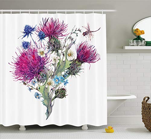 - Ambesonne Dragonfly Shower Curtain, Summer Natural Meadow Herbs Bouquet Wild Thistles Chamomiles Watercolor Boho Art, Fabric Bathroom Decor Set with Hooks, 70 Inches, White Fuchsia