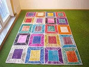 Alfombra en patchwork multi 157 169x235 cm hogar - Alfombras dormitorio amazon ...