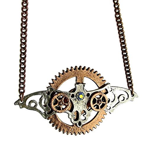 Steampunk Necklace Copper Gears Bat Wings