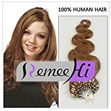 "Remeehi New 15""-32"" 100S 100G 1g/s 100% Brazilian Human Hair Extensions Easy Loop Micro Rings Beads Tipped Body Wavy Extensions 26 inch 613#"