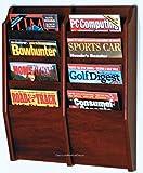 DMD Wall Mounted Magazine Rack, Mahogany Finish, 8 Pocket, Solid Oak Sides