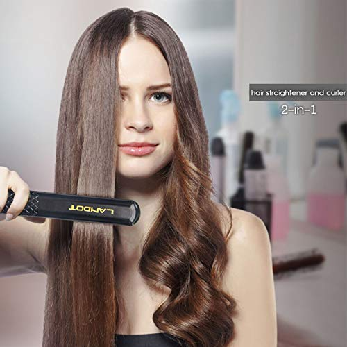LANDOT Ceramic Tourmaline Hair Straightener Professional Anti Static Flat Iron with 1 inch Floating Plates Dual Voltage Hair Styling Tools Adjustable Temperature 140F to 465F for All Hair Types