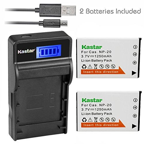 (Kastar Battery (X2) + SLIM LCD Charger for Casio NP20 NP-20 & Exilim EX-M1 EX-M2 EX-M20 EX-S20 EX-S100 EX-S500 EX-S600 EX-S880 EX-Z3 EX-Z4 EX-Z5 EX-Z6 EX-Z7 EX-Z8 EX-Z11 EX-Z60 EX-Z70 EX-Z75 EX-Z77)