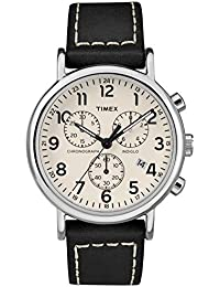Men's TW2R42800 Weekender Chrono Black/Cream Two-Piece Leather Strap Watch