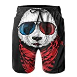 Blue&White Board Pandas with Glasses and Scarves Swim Summer Trunks Holiday Shorts