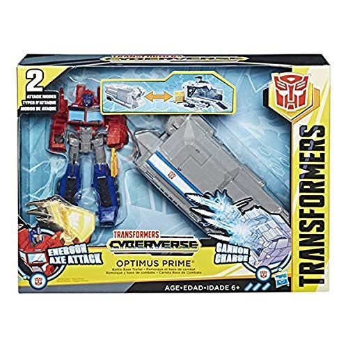 Transformers Cyberverse Warrior Class Optimus Prime with Battle Base Trailer ()