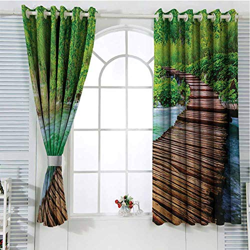Landscape Patio Door Curtains for Bedroom Nostalgic Hand Made Oak Pathway Over The Creek Water Heads into South Europe Thermal Insulated Noise Reducing W62 x L72 Inch Green Brown (External Patio Oak Doors)