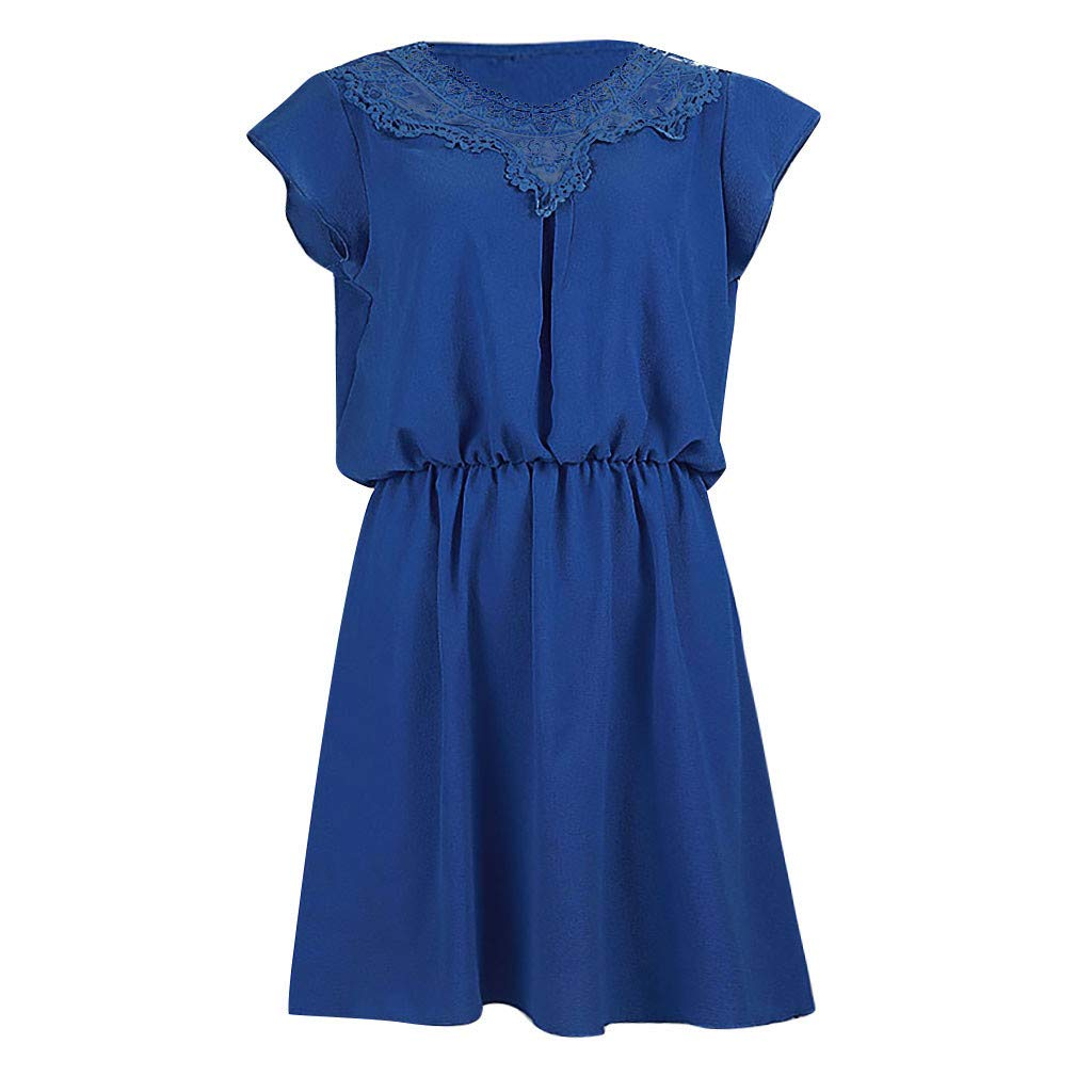 BCDshop Women Fashion Ruffles Short Sleeve Lace Patchwork Mini Dress Elastic Waist Elegant Short Dresses (XL, Blue) by BCDshop_Dress Clearance