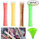 Image of Trasfit 160 Pieces Ice Popsicle Molds Bags with Collapsible Funnel, Zip-Top Disposable DIY Ice Pop Pouches for Yogurt, Candy and Freeze Pops Making