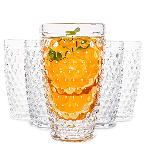 Hobnail Old Fashioned Iced Beverage Glass 13oz Set of 6 (Clear), Premiun Glass Set for Refreshments, Soda & Juice…