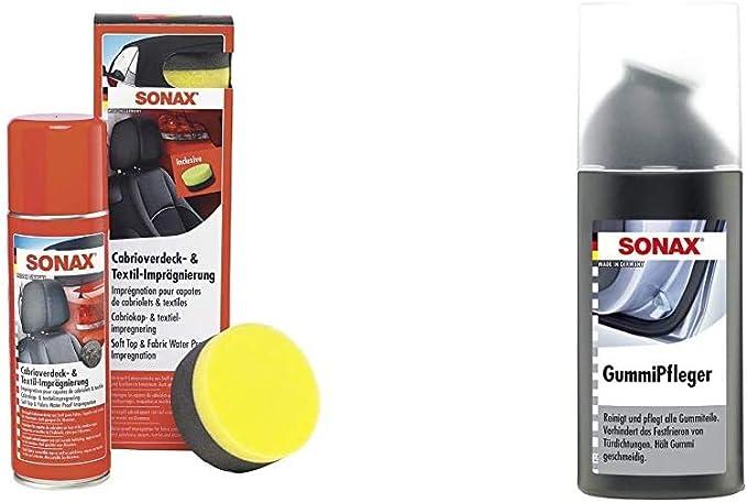 Sonax Cabrioverdeck Textilimprägnierung 300 Ml Versiegelung Und Imprägnierung Gummipfleger Mit Schwammapplikator 100 Ml Auto