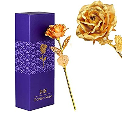 TRINKA 24k 10 Inchs Big Gold Foil Rose Flowers, Handcrafted Presents for Her, Valentine's Day Gift, Free Gift Box