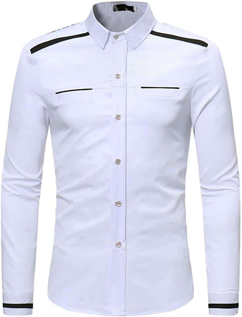 Usopu Mens Casual//Daily Going Out Monochrome Patchwork Long Sleeve Shirt