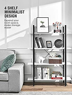 ORAF Bookshelf 4 Tier Industrial Style Bookcase, Solid 130lbs Load Capacity per Shelf Sturdy Bookshelves with Steel Frame, Wide Storage Organizer 41Wx12Dx55H inches Home Office Shelf