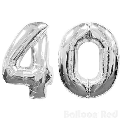 Number 40 Giant Jumbo Helium Foil Mylar Balloons, 40 inch, Glossy Silver, Premium Quality, for 40th Birthday Party
