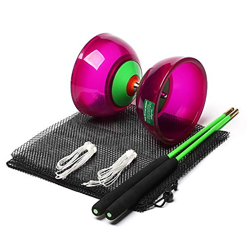 Body Rhythm Five Bearings Chinese Diabolo Yoyo Set with Fiberglass Sticks-Adjustable Strings for All Ages – Best for Fitness and Tricks (Purple)