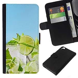 All Phone Most Case / Oferta Especial Cáscara Funda de cuero Monedero Cubierta de proteccion Caso / Wallet Case for HTC Desire 820 // Lime Cocktail