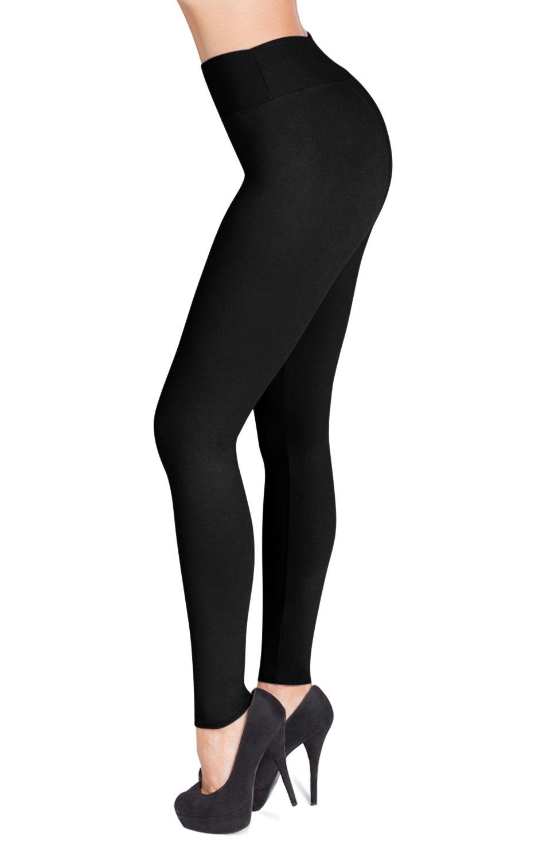 SATINA High Waisted Leggings – 22 Colors – Super Soft Full Length Opaque Slim (One Size, Black) by Sejora (Image #1)