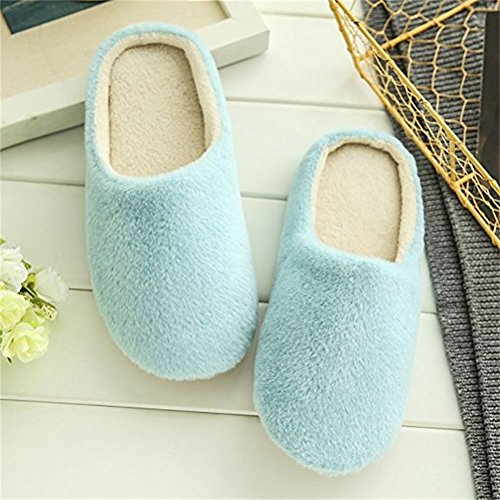 Furry Women's Padded House Plush Blue Cotton Mens Home Cozy Chinelos Slippers Shoes Couples Winter a55rZq