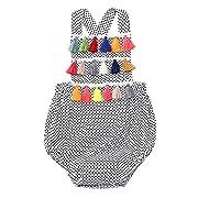 Weixinbuy Baby Boy's Girl's Sleeveless Polka Dot Backless Romper Bodysuit Clothes