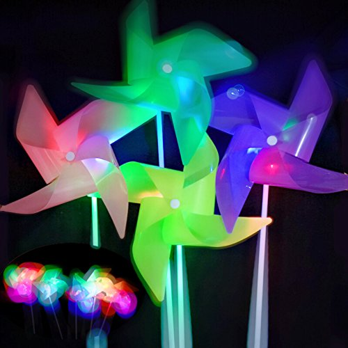 ASWCOWY Pinwheels for Garden Colourful LED Light Windmills Whirl Pinwheels Wind Spinner Whirligig Bright Blended Rainbow Design Mylar Material LED Light Outdoor Toy (10 pcs)