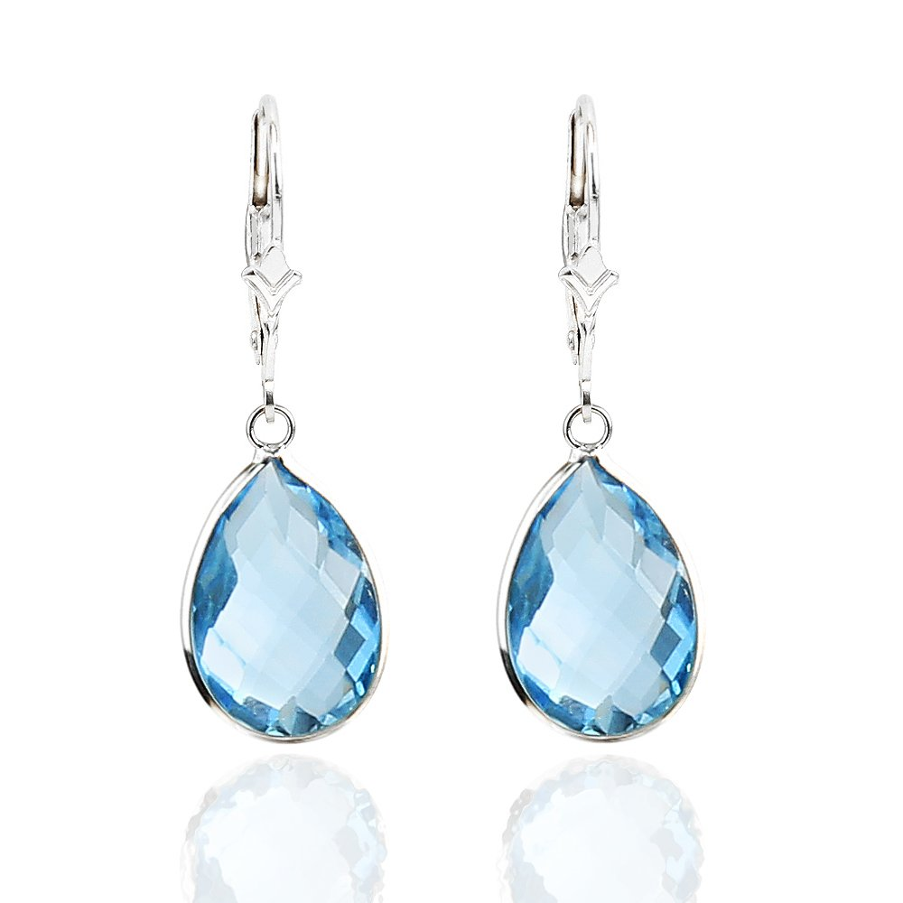 14K White Gold Handmade Gemstone Earrings With Dangling Pear Shape Blue Topaz